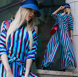 Dora D. - Blue Striped Two Piece - Read between the lines
