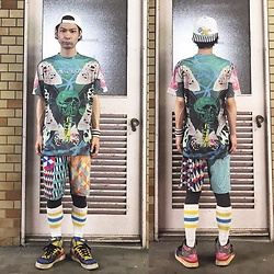 @KiD - Rvca Have Fun, Flying Lotus Tee, Rvca Crazy Pattern Shorts, Nonsensical Sid Bracelet, Adidas Crazy Pattern Sneaker - JapaneseTrash434