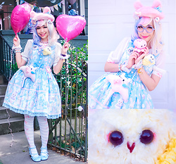 Kammie Pomeranian - Precious Bbyz Stingy, Angelic Pretty Fancy Paper Dolls 襟付きジャンパースカート, Angelic Pretty Candy Border キャンディボーダーオーバーニー, Angelic Pretty Fancy Bunny ファーベレー, Swimmer Moon Bracelet, Precious Bbyz Nan, Sanrio Marumofubiyori, Minty Mix Primary Pastel Wig - Precious BBYZ Fancy Paper Dolls