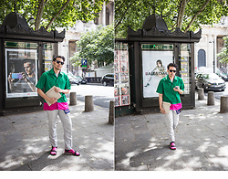Ronan Summers - Ami Short Sleeve Green Shirt, Saint Laurent Sunglasses, Calvin Klein Pink Socks - Green and Pink