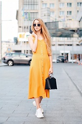 Lisa - Zaful Dress, Zara Bag, Zara Sneakers - Yellow dress