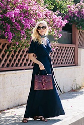 Meagan Brandon - Scarf, Maxi Dress (Under $40), Brahmin Satchel, Similar Sandals - In the Navy