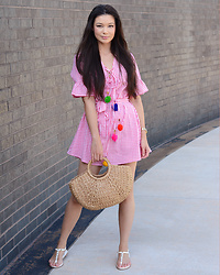 Raspberry Jam - Prettylittlething Gingham Pom Pom, Shein Straw Bag, Primark Sandals - Gingham Pom Pom Dress