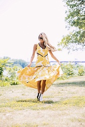 Lauren Recchia - Alexis Yellow Dress, Helmut Lang Booties - Sunny Florals