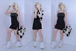 Suzi West - Forever Young Wig, Byer Too! 1990s Dress, Garage Sale Panda Purse, Yru Qozmo Platform Sneakers - 14 March 2018