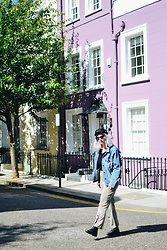 Elizabeth Claire - Whowhatwear X Target Denim Ruffle Jacket, Zara Checked Kick Flare Trousers, Asos Black Chelsea Boots, H&M Black Baker Boy Hat - Lost in Notting Hill