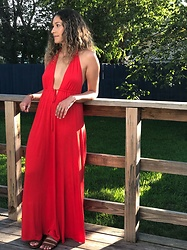 Lina Acevedo - Asos Dress - Red, Rojo, Rouge