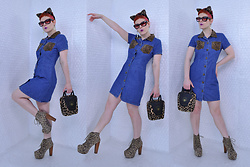 Suzi West - Target Josie & The Pussycats Headband, Grease Rags Clothing Company Sunglasses, Suzi West Model Star Earrings, My Michelle 1990s Denim & Leopard Dress, Accoutrements Leopard Bowling Bag, Jeffrey Campbell Shoes Leopard Lita Boots - 13 March 2018