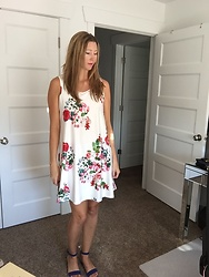 Cindy Batchelor - White Sleeveless Floral Dress - White Sleeveless Floral Dress