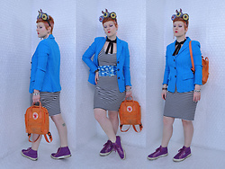 Suzi West - Sharla Tv Custom Fascinator, Suzi West Model Barbie Hand Earrings, Dana Buchman Blazer, Topshop Striped Bodycon Dress, Good Eye House & Style Silk Cumberbund, Fjallraven Kanken Mini, Superga Sneakers - 27 March 2018