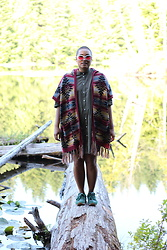 Gemma Buffalo - New Balance Green Sneakers, Muji Green Button Up Dress, American Eagle Outfitters Poncho - New Gen Pocahontas