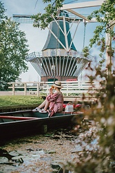 Andreea Birsan - Straw Boater Hat, Straw Wicker Bag, Ace Heart Embroidered Sneakers, Gingham Off Shoulders Midi Dress - Keukenhof
