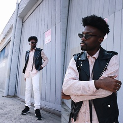 Vernon M. - Zara Biker Vest, Asos Leopard Print Button Up, Levis Skinny Jeans, Aldo Mens Sneakers, Urban Outfitters Spitfire Sunglasses - Waiting on Fall '18
