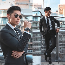 Leo Chan - Levitate Style How To: Business Professional In Black And White, Ulysse Nardin Freak Out Watch, Allen Edmonds Dress Shoes, Todd Snyder Suit, Prada Vintage Tie - Business Professional Black Suit