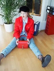 Noora Vesalainen - H&M Red Denim Jacket, H&M Baby Blue Corduroy Jacket, American Apparel Jeans, Mario Valentino Bag, Underground Leather Creepers, H&M Fishnet Socks, Zara Hat, H&M Glasses - The Palest of Blues