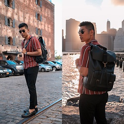 Leo Chan - Levitate Style How To: Dress Summer Sharp Casual, Coach Leather Backpack, Allen Edmonds Loafers, Prada Teddy Sunglasses, Topman Striped Shirt - How To: Dress Summer Sharp Casual
