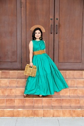 Kristen Tanabe - Who What Wear Maxi Green Dress, A New Day Bamboo Purse, Forever 21 Wide Chestnut Belt, Steve Madden Platform Heels - The Vintage Wooden Fan