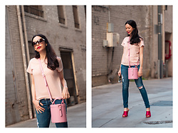 Lisa Valerie Morgan - Urban Outfitters T Shirt, Adriano Goldschmied Jeans - Shades of Pink