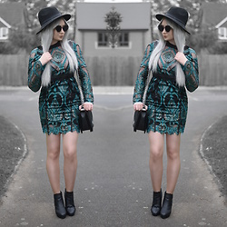 Sammi Jackson - Primark Black Fedora, Ivrose Teal Sequin Embroidered Dress, Oasap Quilted Bag, Office Chunky Boots - TEAL