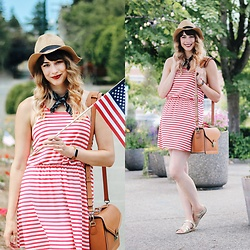 Mackenzie S - Modcloth Striped Dress, Forever 21 Straw Fedora, Urban Outfitters Navy Bandanna, Saltwater Sandals, Jo Totes Siena Camera Bag - Stars, Stripes, and Fireworks