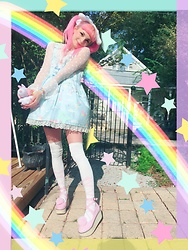 Lily P - Offbrand Pink Rocking Horse Shoes, Angelic Pretty Ballerina Otk, Angelic Pretty Dream Fantasy In Sax, Forever 21 Polkadot Sheer Top, Sanrio Cinnamoroll Headband - Summer dreams !!!✨