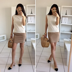 LOOK DU JOUR BY ANA - Two Tones Straight Dress With Pockets, Chanel Slingback Shoes, Cult Gaia Bamboo Bag, Rose Gold Watch, Pearl Earings - FRENCH LOOK