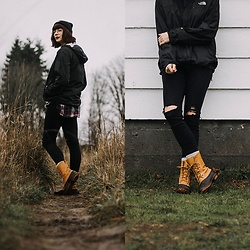 Mackenzie S - Ll Bean Boot, Gap Distressed Skinny Jeans, The North Face Rain Shell, H&M Plaid Flannel, Carhartt Knit Beanie, Zenni Optical Sepulveda Frames - Reality of a Rainy Day