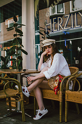 Andreea Birsan - Straw Baker Boy Hat, Ace Heart Embroidered White Sneakears, White Linen Button Down Shirt, Ark Bamboo Bag, Silk Scarf - Linen