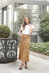 Besugarandspice FV - & Other Stories Midi Skirt, Mango Sandals - Leopard Midi Skirt