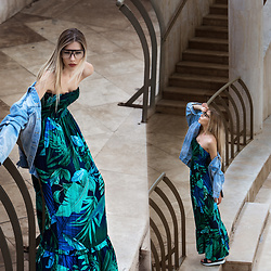 Dora D. - Oversized Clear Lens Sunglasses, Palm Tree Print Maxi Dress - Stairs, Lights & Shadows