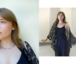 Jasmine - H&M Slip Dress, H&M Patterned Kimono, Thrifted Chain Necklace, {Incredibly Pale Skin} - Twenties Inspired