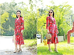 Hanh Nguyen -  - Floral Wrap Midi Dress