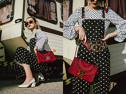 Andreea Birsan - Polka Dots Denim Dungarees, Polka Dots Balloon Sleeve Top, Small Cat Eye Sunglasses, Scarf, White Chunky Heel Shoes, Chain Belt, Red Shoulder Bag - Polka dots