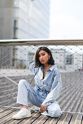 Rosa Pel - Urban Outfitters Workwear Denim Jumpsuit, Reebok - The workwear denim
