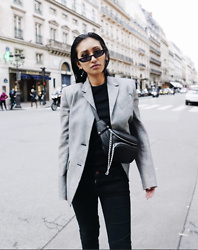 Rosa Pel - Maxmara Blazer Grey, Pull & Bear Bum Bag, Kendall And Kylie Micro Sunglasses - Touch of grey