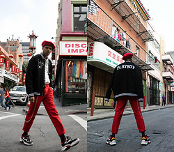 Dominic Grizzelle - Pacsun Playboy X Varsity Jacket, Pacsun Contrast Stitch Denim, Ash Footwear Sneakers - BAY AREA PLAYBOY