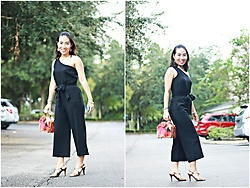 Hanh Nguyen -  - One Shoulder Black Jumpsuit