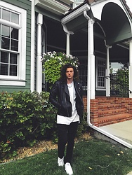 Caleb Paulson - Reebok, H&M Black Jeans, Forever 21 White Shirt, H&M Leather Jacket - Classic