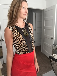Cindy Batchelor - Leopard Print Bodysuit, Red Pencil Skirt - Mesh Leopard Print and Red Pencil skirt