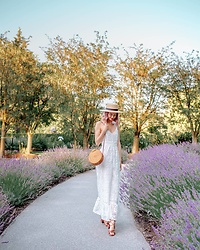 Arielle - Ministry Of Style Lace Jumpsuit, Urban Outfitters Boater Hat, Urban Outfitters Rattan Bag - The Lavender Path