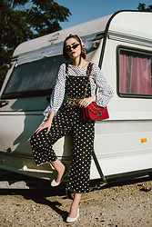 Andreea Birsan - Balloon Sleeve Polka Dot Top, Polka Dot Denim Overall, Red Leather Shoulder Bag, Small Cat Eye Sunglasses, Silk Scarf, Chain Belt, White Leather Pumps - Overall