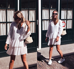 Magna G. - Zara Pleated Dress, Topshop Pom Pom Bag, Public Desire Chunky Sneakers - Zara white pleated dress - WIN MY WARDROBE ✨ GIVEAWAY