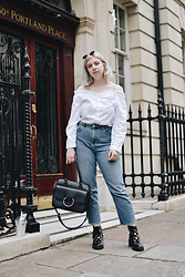 Elizabeth Claire - H&M White Off The Shoulder Top, Topshop Straight Leg Jeans, Bershka Lace Up Boots, Target Black Ring Bag - Here We Go Again