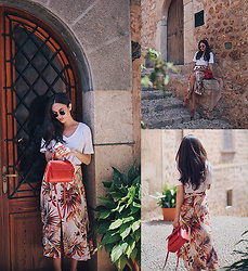 Intrigue U - Mango Long Skirt, Inga Xavier Mini Bag, Free People Velvet Loafers, Ray Ban Sunglasses - Autumn Reds