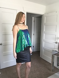 Cindy Batchelor - Woman In Blue/Green Sequin Camisole, Faux Leather Black Pencil Skirt - Woman in Blue/Green Sequin Camisole & faux leather Skirt