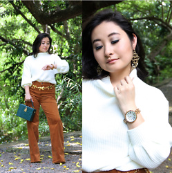 "Kristen Tanabe - Jord ""Cassia"" Watch, Shein White Sweater, Forever 21 Corduroy Pants, Forever 21 Boxy Clutch, Vintage Gold Chain Belt, Banana Republic Gold Earrings - A Unique Timepiece + GIVEAWAY"