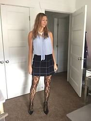 Cindy Batchelor - Light Blue Tie Front Chiffon Top, Navy Plaid Skirt, Print Fishnet Tights - Blue Chiffon Top, Plaid Skirt and Print Tights