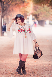 Ninaah Bulles - Shein Dress, Jilsen Boots, Primark Tight, Bsh Bag, Kiabi Hat - Fall Folk Romance in Paris