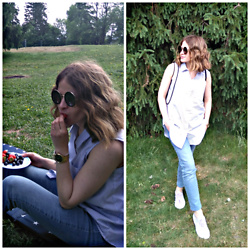 Alla Dolzhenko - Shirt In Stripes, H&M Jeans, Superga Sneakers, Frames, Tissot Watches - Berries