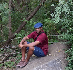 ~Jerry Eugene - Thrift Vintage Denim Golf Hat, Old Navy Soft Washed Perfect Fit Tee, Wrangler Denim Carpenter Shorts, Moham Poseidon Casual Shoes - In the mountains of NC...